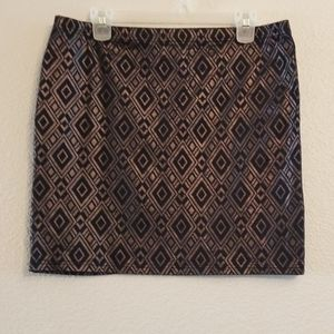 Black skirt with shimmery gold patterns